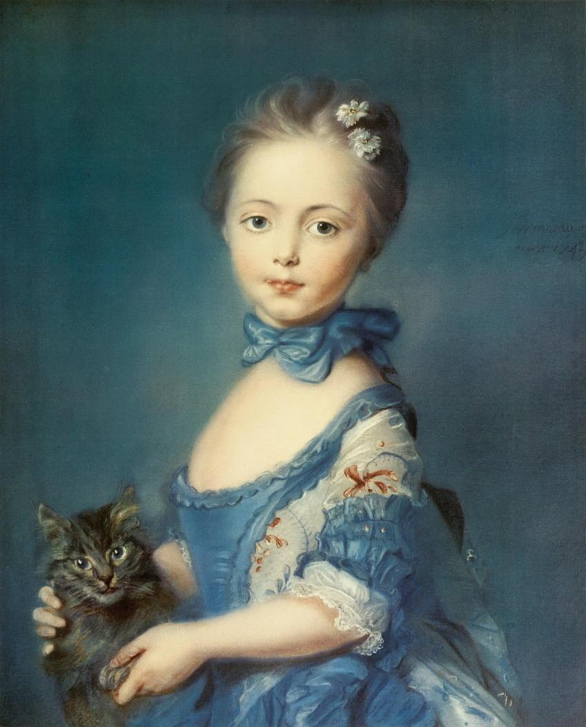 """Kunstdruck """"Mädchen mit Katze"""" von Jean Baptiste Perroneau"""