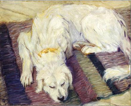 """Kunstdruck """"liegender Hund"""" von Franz Marc"""
