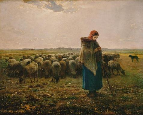 MI-002 Schafhirtin mit Herde