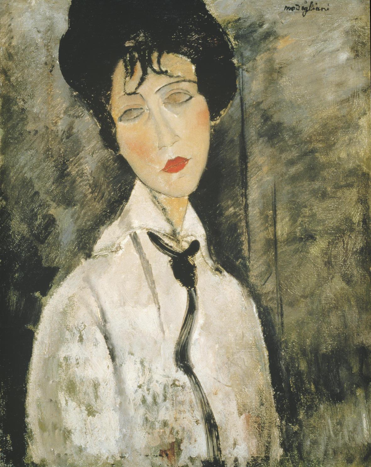 """Kunstdruck """"Frauenbildnis mit Krawatte"""" von Amadeo Modigliani"""