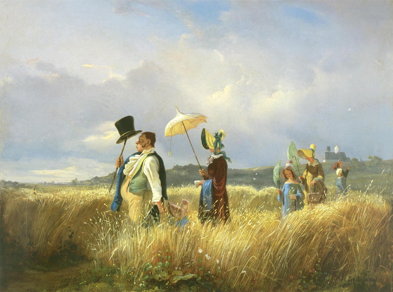 """Kunstdruck """"Der Sonntagsspaziergang"""" von Carls Spitzweg"""