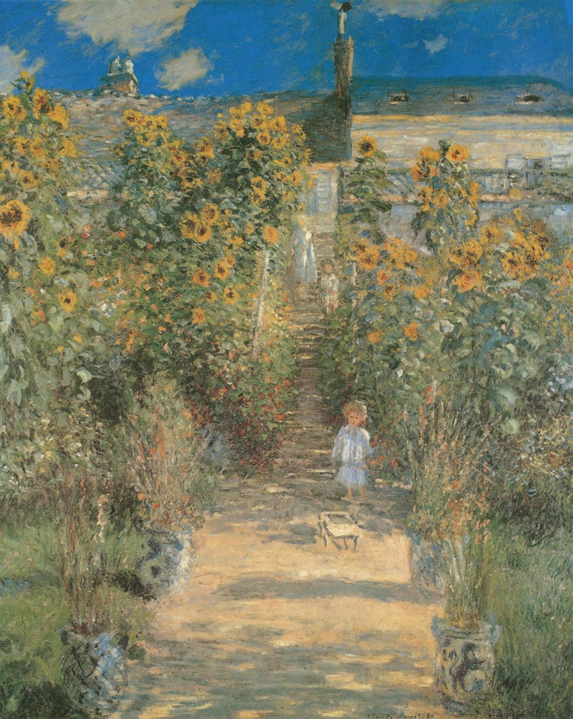 Kunstdruck Monets Garten In Vetheuil Von Monet Claude