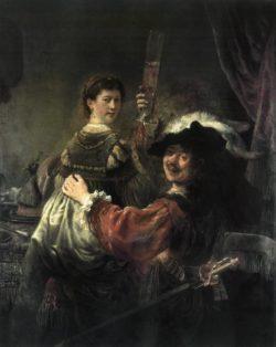 """Rembrandt """"Rembrand-Selbstbildnis-mit-seiner-Gattin-Saskia-als-Verlorener-Sohn"""" 161 x 131 cm"""