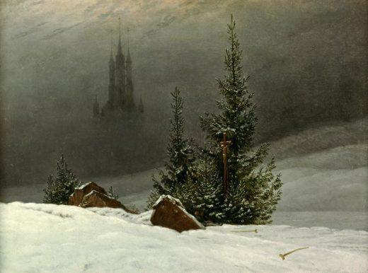 """Caspar David Friedrich """"Winterlandschaft mit Kirche""""  45 x 33 cm 1"""