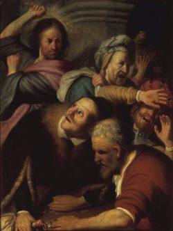 """Rembrandt """"Jesus-treibt-die-Wechsler-aus-dem-Tempel"""" 43 x 33 cm"""