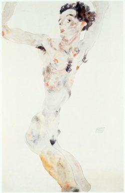 """Egon Schiele """"Männlicher Akt Selbstbildnis"""" 32 x 49 cm"""