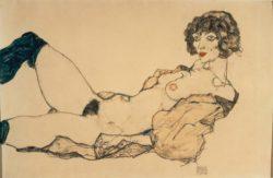 """Egon Schiele """"Liegender Frauenakt mit grünen Strümpfen"""" 46 x 31 cm"""