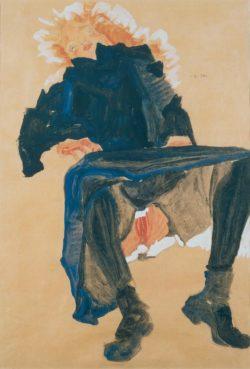 "Egon Schiele ""Sitzende mit aufgehobenem blauen Rock"" 32 x 45 cm"