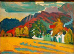 """Wassily Kandinsky """"Häusergruppe Vor Gebirge"""" 45 x 32 cm"""