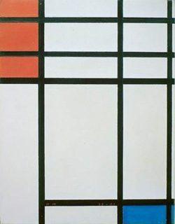 """Piet Mondrian """"Komposition in Rot Blau und Weiß"""" 43 x 33 cm"""
