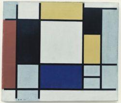 """Piet Mondrian """"Komposition mit Gelb Rot Schwarz Blau und Grau"""" 51 x 60 cm"""
