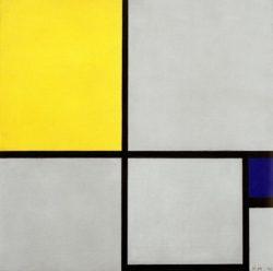 """Piet Mondrian """"Komposition mit Gelb und Blau"""" 51 x 51 cm"""