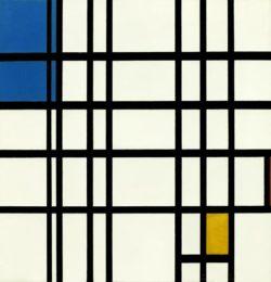 """Piet Mondrian """"Rhythmus der geraden Linien"""" 72 x 69 cm"""