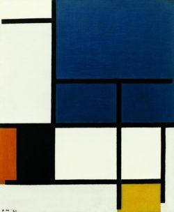 """Piet Mondrian """"Komposition mit großer blauer Fläche Rot Schwarz Gelb un"""" 60 x 50 cm"""
