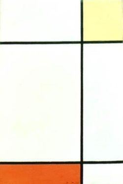 """Piet Mondrian """"Komposition mit Gelb und Rot"""" 52 x 35 cm"""