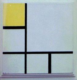 """Piet Mondrian """"Komposition mit Gelb"""" 50 x 50 cm"""