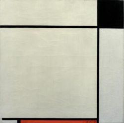 """Piet Mondrian """"Komposition mit Schwarz Rot und Grau"""" 56 x 56 cm"""