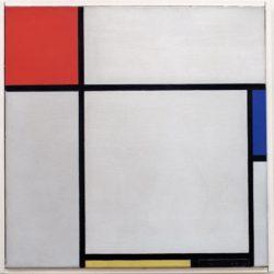 """Piet Mondrian """"Komposition mit Rot Blau Gelb und Schwarz"""" 45 x 45 cm"""