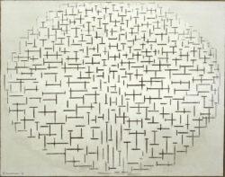 """Piet Mondrian """"Komposition in Schwarz und Weiß Pier und Ozean"""" 85 x 108 cm"""