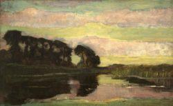 """Piet Mondrian """"Flußlandschaft mit rosafarbenem und gelbgrünem Himmel"""" 75 x 120 cm"""