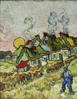 """Vincent van Gogh """"Bauernhaeuser bei Sonnenuntergang"""" 50 x 39 cm"""