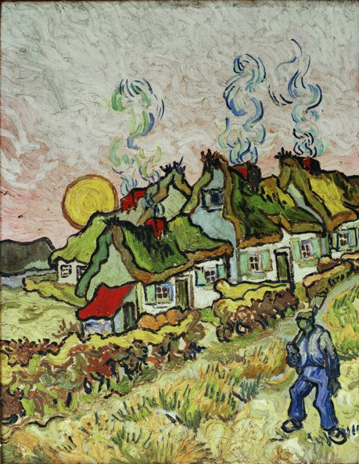 """Vincent van Gogh """"Bauernhaeuser bei Sonnenuntergang"""" 50 x 39 cm 1"""