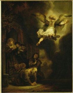 """Rembrandt """"Der-Engel-verläßt-Tobias-und-seine-Familie"""" 66 x 32 cm"""