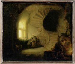 """Rembrandt """"Gelehrter-im-Raum-mit-Wendeltreppe"""" 28 x 34 cm"""