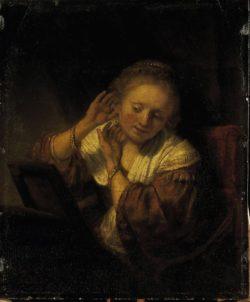 """Rembrandt """"Junge-Frau-sich-mit-Ohrringen-schmückend"""" 39.5 x 32.5 cm"""