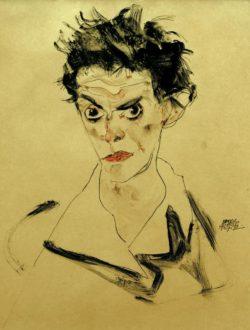 """Egon Schiele """"Selbstbildnis Schulterbüste"""" 25 x 35 cm"""
