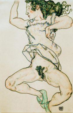 """Egon Schiele """"Liegende Frau mit Hausschuhen"""" 30 x 46 cm"""