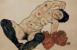"""Egon Schiele """"Liegender Akt mit Handtuch"""" 46 x 29 cm"""