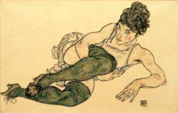 """Egon Schiele """"Liegende Frau mit grünen Strümpfen"""" 46 x 30 cm"""