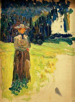 "Wassily Kandinsky ""Kochel Stehende Dame Am Waldrand"" 24 x 33 cm"