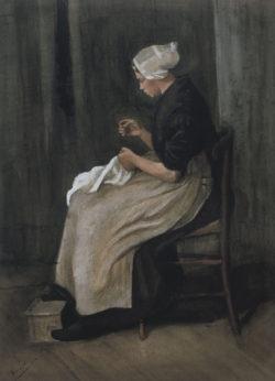 """Vincent van Gogh """"Scheveninger Naeherin"""" 48 x 35 cm"""