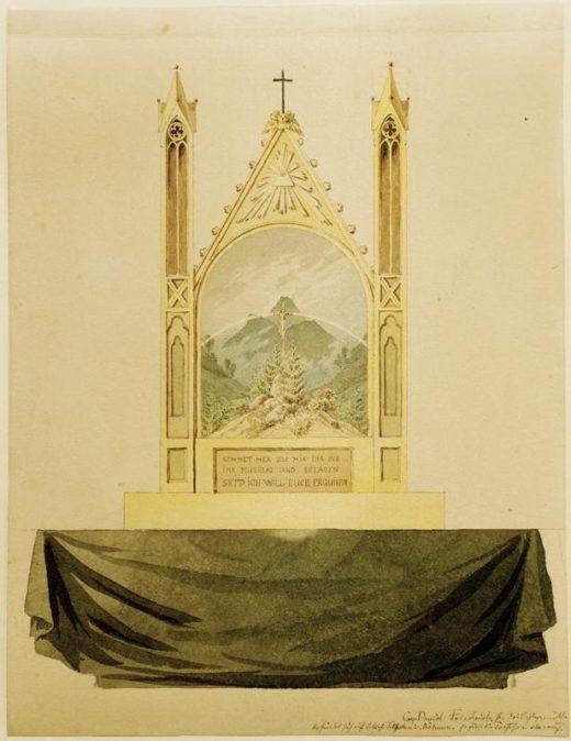 "Caspar David Friedrich ""Kreuz vor Regenbogem""  21 x 27 cm 1"