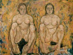 "Egon Schiele ""Hockendes Frauenpaar"" 140 x 110 cm"