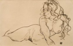 """Egon Schiele """"Sich aufstützender weiblicher Akt mit langem Haar"""" 46 x 29 cm"""