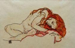 """Egon Schiele """"Kauerndes Mädchen mit gesenktem Kopf"""" 46 x 29 cm"""