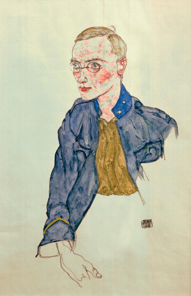 """Egon Schiele """"Einjährig freiwilliger Gefreiter"""" 31 x 48 cm"""
