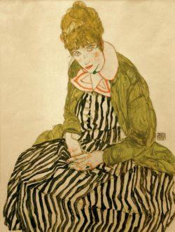 "Egon Schiele ""Edith Schiele in gestreiftem Kleid"" 40 x 51 cm"