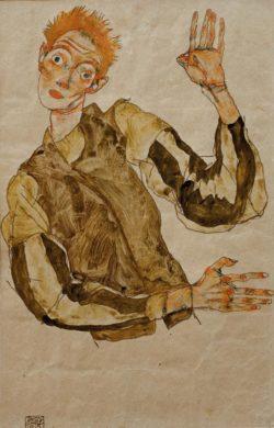 """Egon Schiele """"Selbstbildnis mit gestreiften Ärmelschonern"""" 32 x 49 cm"""