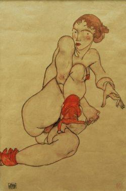 """Egon Schiele """"Akt mit hochgezogenem rechtem Bein"""" 32 x 47 cm"""