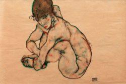 """Egon Schiele """"Kauernder Mädchenakt"""" 48 x 31 cm"""