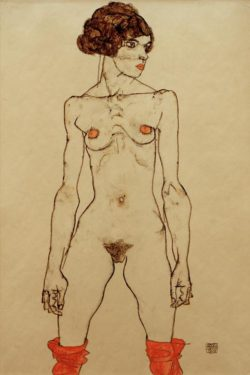 """Egon Schiele """"Stehendes nacktes Mädchen mit Strümpfen"""" 32 x 48 cm"""
