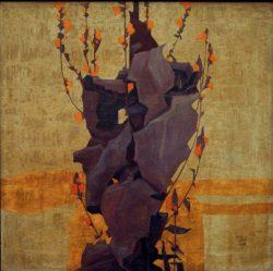 """Egon Schiele """"Stilisierte Blumen vor dekorativem Hintergrund"""" 66 x 66 cm"""