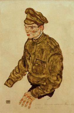 """Egon Schiele """"Kriegsgefangener russischer Offizier"""" 31 x 47 cm"""