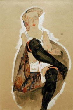 """Egon Schiele """"Mädchen mit übereinandergeschlagenen Beinen"""" 36 x 54 cm"""