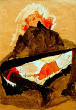 """Egon Schiele """"Rothaariges Mädchen mit gespreizten Beinen"""" 30 x 44 cm"""