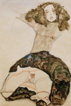 """Egon Schiele """"Schwarzhaariges Mädchen mit hochgeschlagenem Rock"""" 38 x 56 cm"""